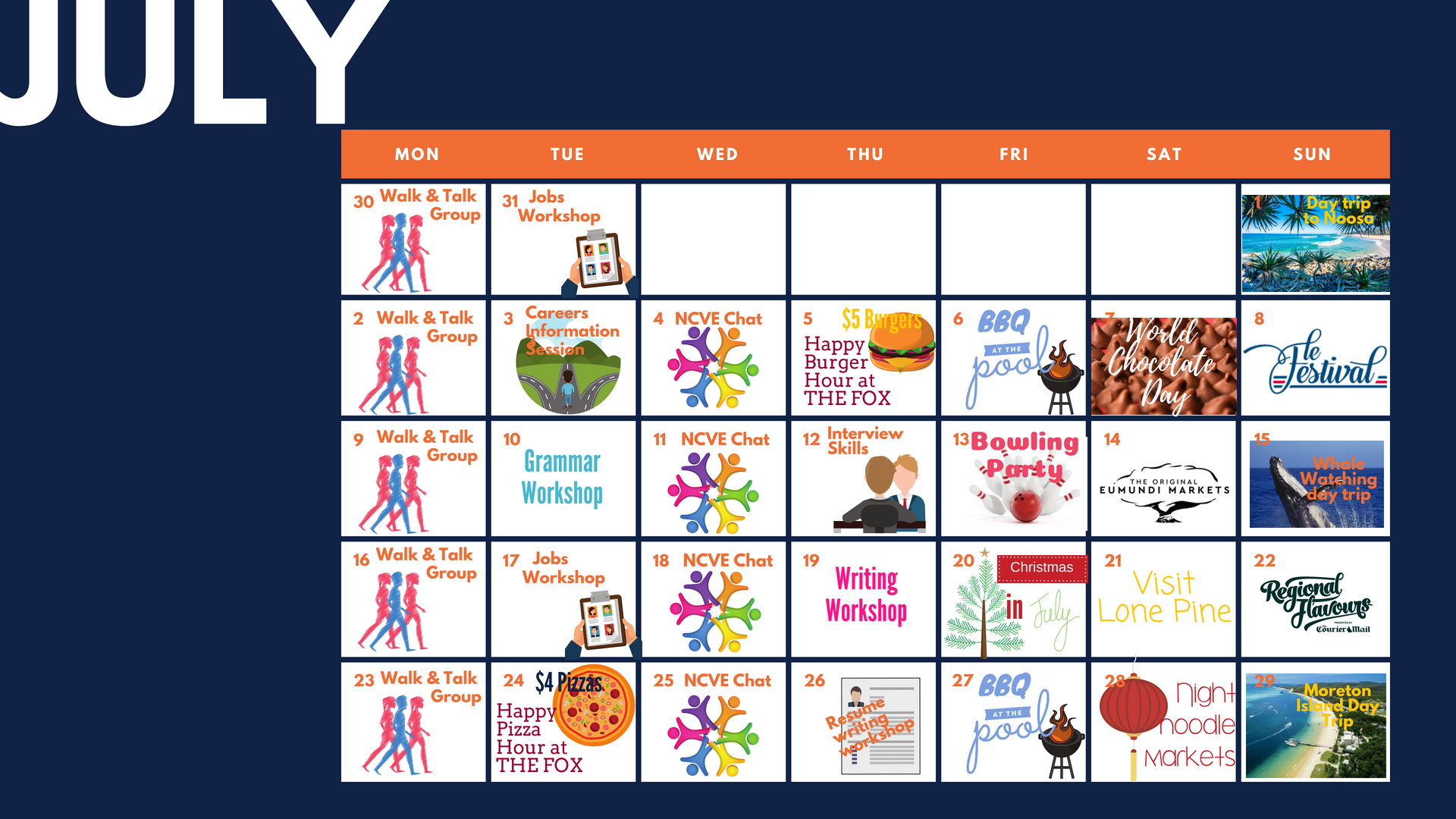 What's On at NCVE International - July Social Calendar